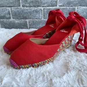Castaner Carina Wedges Espadrilles Red Multicolor